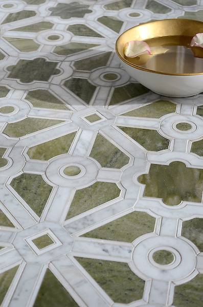 Jardin, a stone waterjet mosaic, shown in polished Verde Luna, Calacatta, and Carrara. Designed by Sara Baldwin Designs for New Ravenna.<br /> <br /> For pricing samples and design help, click here: http://www.newravenna.com/showrooms/<br /> <br /> Visit Jardin's Pinterest board for more design inspiration: https://www.pinterest.com/newravenna/j-a-r-d-i-n/