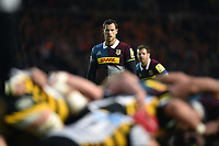 Tim Visser of Harlequins watches a scrum. Aviva Premiership match, between Harlequins and Wasps on April 28, 2017 at the Twickenham Stoop in London, England. Photo by: Patrick Khachfe / JMP