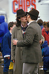"Air Kiss. Smart young couple  ""country set"" at the Badminton Horse trials Gloucestershire Circa 1985"