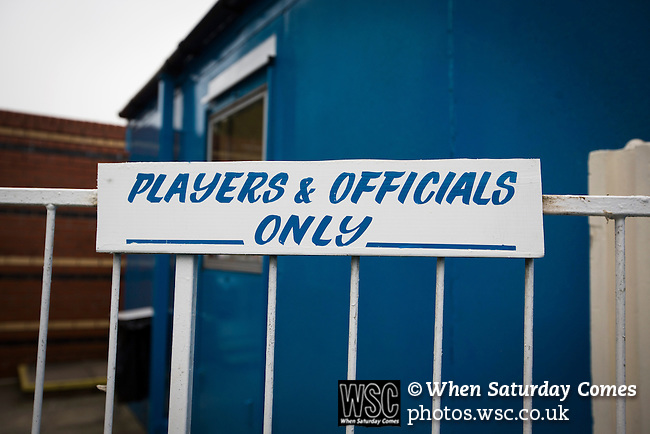 """Ramsbottom United 1 Barwell 3, 03/10/2015. Riverside Stadium, Northern Premier League. A sign saying """"players and officials only"""" at the Harry Williams Riverside Stadium, home to Ramsbottom United before they played Barwell in a Northern Premier League premier division match. This was the club's 13th league game of the season and they were still to record their first victory following a 3-1 defeat, watched by a crowd of 176. Rams bottom United were formed by Harry Williams, the current chairman, in 1966 and progressed from local amateur football  in Bury to the semi-professional leagues. Photo by Colin McPherson."""
