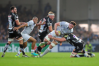 Elliott Stooke of Bath Rugby takes on the Exeter Chiefs defence. Aviva Premiership match, between Exeter Chiefs and Bath Rugby on October 30, 2016 at Sandy Park in Exeter, England. Photo by: Patrick Khachfe / Onside Images