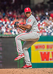 11 September 2016: Philadelphia Phillies pitcher and Baseball America top prospect Edubray Ramos on the mound against the Washington Nationals at Nationals Park in Washington, DC. The Nationals edged out the Phillies 3-2 to take the rubber match of their 3-game series. Mandatory Credit: Ed Wolfstein Photo *** RAW (NEF) Image File Available ***
