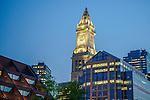 Boston's Custom Tower at night