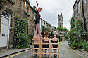 Members of Australian circus troupe, Circa, limber up in Circus Lane, Stockbridge, ahead of their run at the Underbelly, as part of the Edinburgh Festival Fringe. L to r: Kimberley O'Brien (balancing), Jarred Dewey, Lisa Goldsworthy, Lauren Herley.