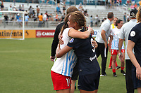 Cary, North Carolina  - Sunday May 21, 2017: Sofia Huerta and Lynn Williams embrace after a regular season National Women's Soccer League (NWSL) match between the North Carolina Courage and the Chicago Red Stars at Sahlen's Stadium at WakeMed Soccer Park. Chicago won the game 3-1.