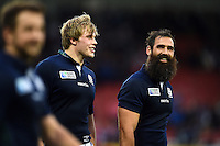 Josh Strauss of Scotland is all smiles after the match. Rugby World Cup Pool B match between Scotland and Japan on September 23, 2015 at Kingsholm Stadium in Gloucester, England. Photo by: Patrick Khachfe / Onside Images