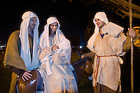 Models for Christ stage a Live Nativity Scene at Palisades Park on Friday, December 7, 2012..