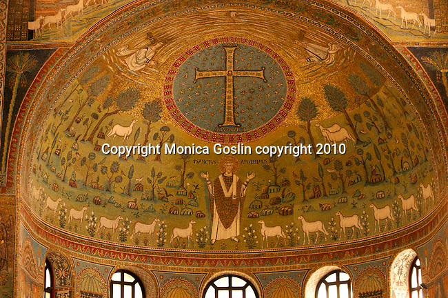 Mosaics in the Basilica of Sant'Apollinare in Classe just outside of in Ravenna, Italy.