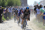 The peloton with Jonathan Dibben (GBR) Team Sky on the front on pave sector 29  Troisvilles a Inchy during the 115th edition of the Paris-Roubaix 2017 race running 257km Compiegne to Roubaix, France. 9th April 2017.<br /> Picture: Eoin Clarke | Cyclefile<br /> <br /> <br /> All photos usage must carry mandatory copyright credit (&copy; Cyclefile | Eoin Clarke)