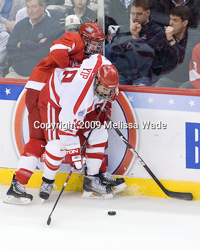 Cameron Schilling (Miami - 5), Brandon Yip (BU - 18) - The Boston University Terriers defeated the Miami University RedHawks 4-3 in overtime to win the 2009 NCAA D1 National Championship at the Frozen Four on Saturday, April 11, 2009, at the Verizon Center in Washington, DC.