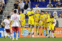 THe Columbus Crew wall attempts to block a free kick by Juan Pablo Angel (9) of the New York Red Bulls. The Columbus Crew defeated the New York Red Bulls 3-1 during a Major League Soccer (MLS) match at Red Bull Arena in Harrison, NJ, on May 20, 2010.