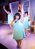 The Flannelettes <br /> by Richard Cameron <br /> at the King's Head Theatre, London, Great Britain <br /> Press photocall <br /> 15th May 2015 <br /> <br /> <br /> Emma Hook as Delie<br /> singing with mic <br /> <br /> <br /> Photograph by Elliott Franks <br /> Image licensed to Elliott Franks Photography Services