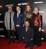 NEW YORK, NY November 15:Billy Bob Thornton, Brett Kelly, Christina Hendricks, Kathy Bates, Tony Cox at Broad Green Picture & Miramax's presents New York premiere of BAD SANTA 2 at AMC Loews Lincoln Square in New York City.November 15, 2016. Credit:RW/MediaPunch