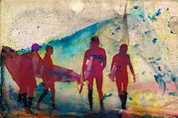 Seemingly colorized by the peeling away of the color layers of the image, silhouetted surfers prepare to take to the waves. A historical photo, damaged artistically by flooding caused by Hurricane Sandy in October, 2012.