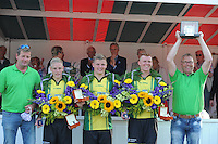 KAATSEN: WOMMELS: 05-08-2015, Jurre Rinia, Jouke Vlasbloem en Klaas Pier Folkertsma wonnen namens Makkum met 5-1 en 6-2 de Freulepartij, ©foto Martin de Jong