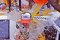 Geoff Bodine gets doused with Gatorade after winning the Goody's 300 NASCAR Busch series race before the Daytona 500, Daytona International Speedway, Daytona Beach, Florida, February 14, 1987. (Photo by Brian Cleary/www.bcpix.com)