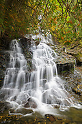 Beaver Brook Falls Natural Area in Colebrook, New Hampshire USA during the autumn months.