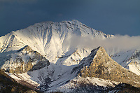 Sunset on the snow covered Wiehl mountain of the Brooks range, Arctic, Alaska