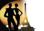Silhouette of two young adults looking romantically at the Eifell Tower in Paris