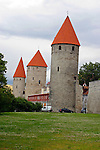 Europe, Estonia, Tallinn. The historic walls and towers of Tallinn.