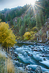 Idaho, Southwest, Banks. Sunrise over the South Fork of the Payette River in Autumn.