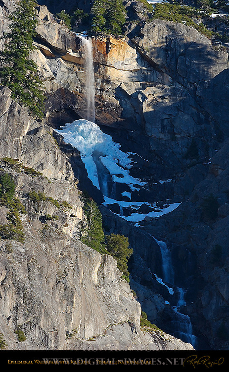 Ephemeral Fall with Ice Cone in March, South Rim of El Capitan Meadow near Sentinel Rock, Yosemite National Park