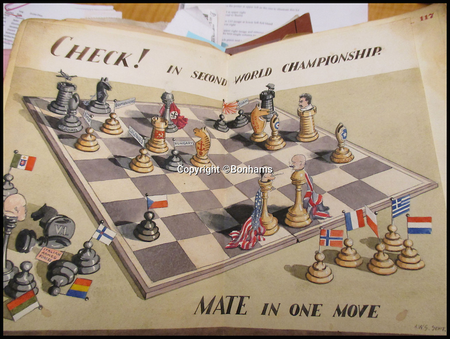 BNPS.co.uk (01202 558833)<br /> Pic: Bonhams/BNPS<br /> <br /> Archibald Sulston's satirical take on the Allies defeating Hitler through a game of chess.<br /> <br /> Tell-tale illustrations of British airmen plotting the famous Great Escape drawn by a prisoner of war at huge risk have come to light.<br /> <br /> The watercolour paintings were kept in a wartime scrapbook by Flight Lieutenant Archibald Sulston, a keen artist who drew and painted life in the PoW - including obvious evidence of a tunnel being dug.<br /> <br /> The album is being sold at auction for &pound;20,000.