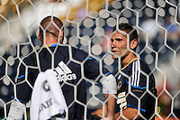 Philadelphia Union goalkeeper coach Rob Vartughian (R) talks with goalkeeper Brad Knighton (18). The Philadelphia Union defeated CD Chivas USA 3-0 during a Major League Soccer (MLS) match at PPL Park in Chester, PA, on September 25, 2010.