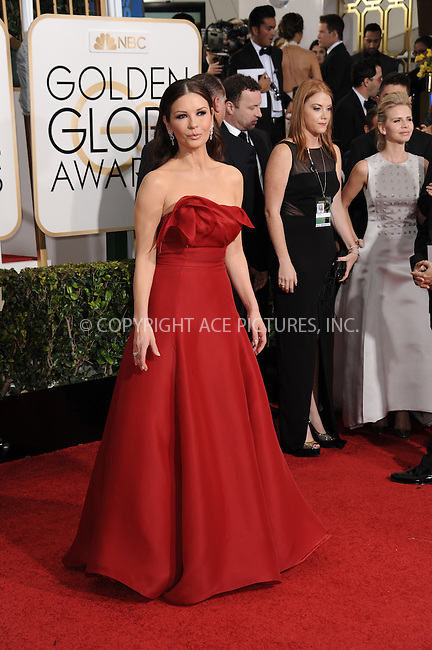 WWW.ACEPIXS.COM<br /> <br /> January 11 2015, LA<br /> <br /> Catherine Zeta-Jones arriving at the 72nd Annual Golden Globe Awards at The Beverly Hilton Hotel on January 11, 2015 in Beverly Hills, California.<br /> <br /> <br /> By Line: Peter West/ACE Pictures<br /> <br /> <br /> ACE Pictures, Inc.<br /> tel: 646 769 0430<br /> Email: info@acepixs.com<br /> www.acepixs.com