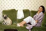 American author Donna Tartt in Paris hotel, 1993.