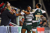 Vereniki Goneva of Leicester Tigers is all smiles after scoring a second half try. European Rugby Champions Cup match, between Leicester Tigers and Munster Rugby on December 20, 2015 at Welford Road in Leicester, England. Photo by: Patrick Khachfe / JMP
