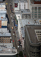 aerial photograph Powell Street cable car line Union Square San Francisco, California