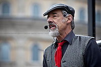 Roger Lloyd-Pack, English actor - 2011<br /> <br /> London, 08/10/2011. Today Trafalgar Square was the stage of the &quot;Antiwar Mass Assembly&quot; organised by The Stop The War Coalition to mark the 10th Anniversary of the invasion of Afghanistan. Thousands of people gathered in the square to listen to speeches given by journalists, activists, politicians, trade union leaders, MPs, ex-soldiers, relatives and parents of soldiers and civilians killed during the conflict, and to see the performances of actors, musicians, writers, filmmakers and artists. The speakers, among others, included: Jeremy Corbin, Joe Glenton, Seumas Milne, Brian Eno, Sukri Sultan and Shadia Edwards-Dashti, Hetty Bower, Mark Cambell, Sanum Ghafoor, Andrew Murray, Lauren Booth, Kate Hudson, Sami Ramadani, Yvone Ridley, Mark Rylance, Dave Randall, Roger Lloyd-Pack, Rebecca Thorn, Sanasino al Yemen, Elvis McGonagall, Lowkey (Kareem Dennis), Tony Benn, John Hilary, Bruce Kent, John Pilger, Billy Hayes, Alison Louise Kennedy, Joan Humpheries, Jemima Khan, Julian Assange, Lindsey German, George Galloway. At the end of the speeches a group of protesters marched toward Downing Street where after a peaceful occupation the police made some arrests.
