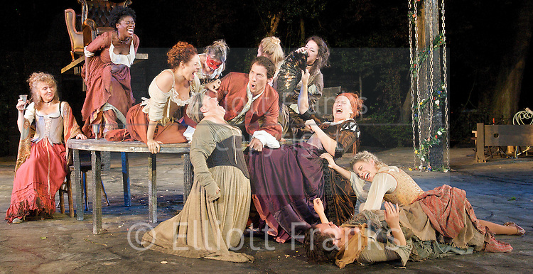 The Beggar's Opera<br /> by John Gay <br /> at The Regent's Park Open Air Theatre, London, Great Britain <br /> 27th June 2011<br /> Press photocall <br /> <br /> David Caves (as Captain Macheath)<br /> and Company <br /> <br /> Photograph by Elliott Franks