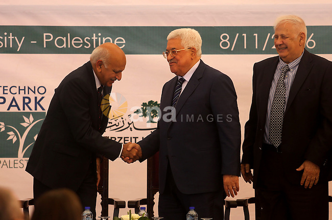 Palestinian President Mahmoud Abbas shakes hands with Mobashar Jawad Akbar, India's Minister of State for External Affairs, during a ceremony of laying the foundation stone of Palestine-India Techno Park, near the West Bank city of Ramallah November 8, 2016. Photo by Shadi Hatem