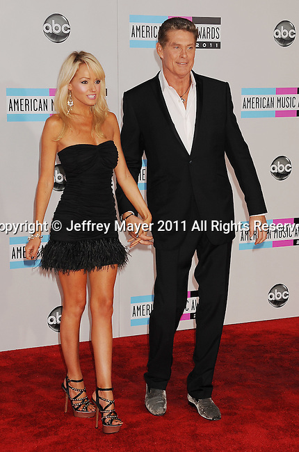 LOS ANGELES, CA - NOVEMBER 20: Haley Roberts and David Hasselhoff arrive at the 2011 American Music Awards held at Nokia Theatre L.A. LIVE on November 20, 2011 in Los Angeles, California.