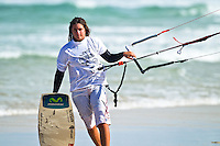 The last leg of the 2010 PKRA World Kiteboarding Tour has come to the Gold Coast, Australia - 2010 Womans World Champion, Gisela Pulido, walks up the beach after the final of the womans single elimination freestyle where she placed 2nd
