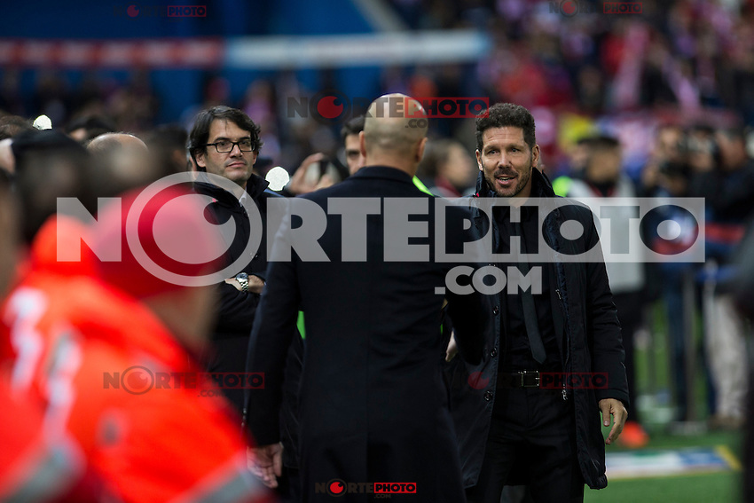 Real Madrid's coach Zinedine Zidane Atletico de Madrid's coach Diego Pablo Cholo Simeone during the match of La Liga between Atletico de Madrid and Real Madrid at Vicente Calderon Stadium  in Madrid , Spain. November 19, 2016. (ALTERPHOTOS/Rodrigo Jimenez) /NORTEPHOTO.COM