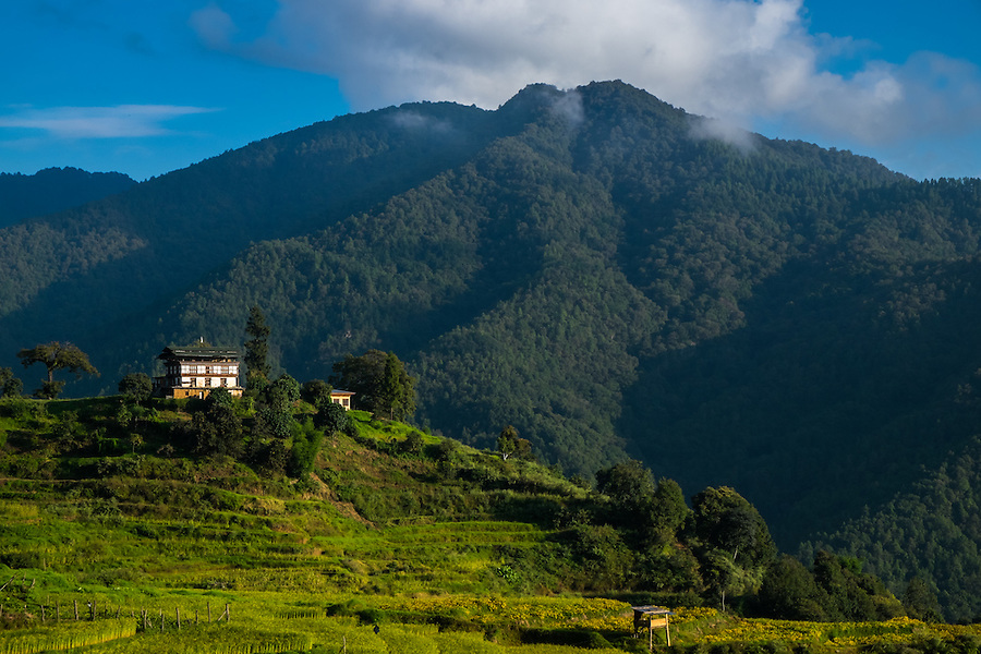 THIMPU, BHUTAN - CIRCA October 2014: House in the countryside in Bhutan