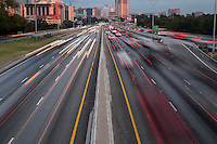 Car Light Trails on a I-35 Highway during Austin morning rush hour traffic.