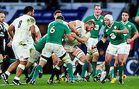 Chris Robshaw of England takes on the Ireland defence. RBS Six Nations match between England and Ireland on February 27, 2016 at Twickenham Stadium in London, England. Photo by: Patrick Khachfe / Onside Images