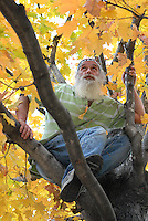 "Rodney Bowman in the tree he was in on June 29, 2008 at 2:30 am when two graffiti artists started to ""tag"" a nearby wall, Bowman jumped out of the tree and attacked the two graffiti artists punching one of them in the face. He was charged with disorderly conduct. Bowman has led a one man crusade to stop graffiti in Atlanta's Cabbagetown neighborhood."