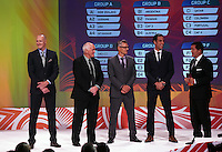 Danny Hay, Steve Sumner, Wynton Rufer and Ivan Vicelich. Official Draw for the FIFA U 20 Football World Cup, New Zealand 2015. Sky City, Auckland. Tuesday 10 February 2015. Copyright photo: Andrew Cornaga / www.photosport.co.nz