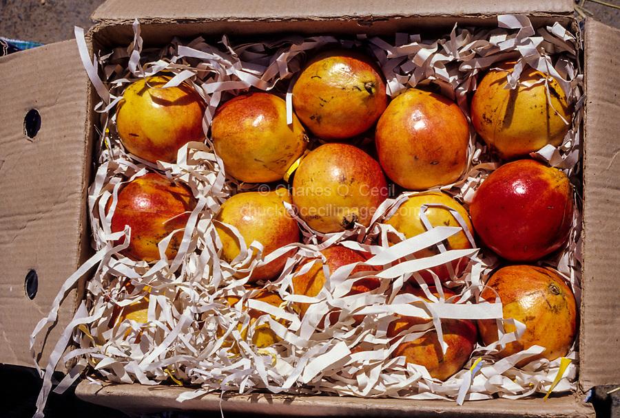 Sanao, Oman.  Pomegranates in the Sanao Market.