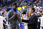 Terrence Jones, left, speaks with Head Coach Calipari at the Alumni Charity Basketball Game at Rupp Arena in Lexington, Ky., on Saturday, September 15, 2012. Photo by Tessa Lighty | Staff