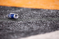 A can of beer sits in the end zone in the second half between the Pittsburgh Steelers and the Cincinnati Bengals during the Wild Card playoff game at Paul Brown Stadium on January 9, 2016 in Cincinnati, Ohio. (Photo by Jared Wickerham/DKPittsburghSports)