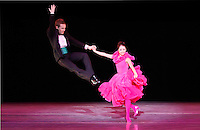 Jared Hunt hangs in the air off his partner while performing in Twyla Tharp's 'Stravinsky to Sinatra' at the Artemus W. Ham Hall on the campus of UNLV.
