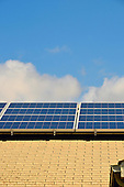 Stock photo of solar panels on a residential roof