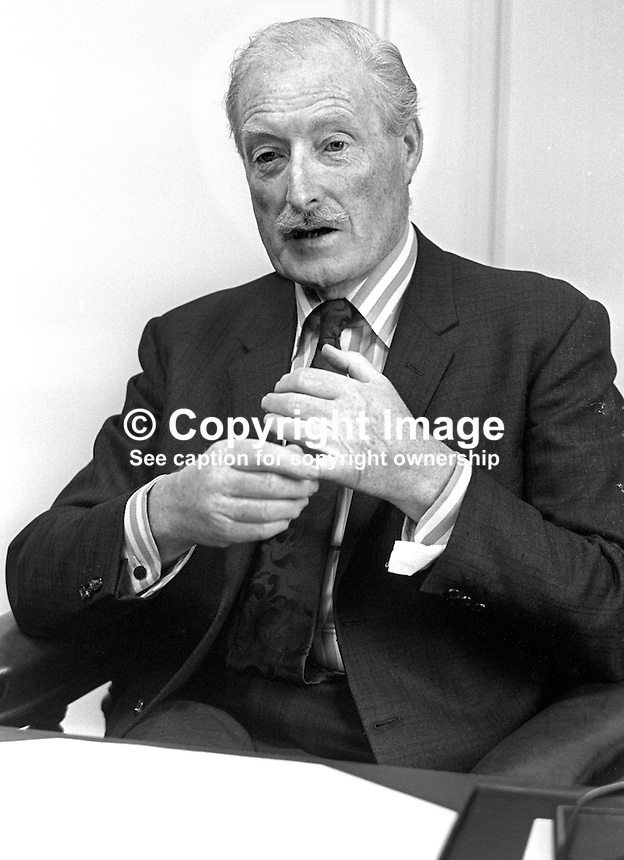 Sir Brian Morton, chairman, Harland &amp; Wolff Ltd, shipyard, Belfast, N Ireland, at his desk. 197512190777<br /> <br /> Copyright Image from Victor Patterson, 54 Dorchester Park, Belfast, UK, BT9 6RJ<br /> <br /> t: +44 28 90661296<br /> m: +44 7802 353836<br /> vm: +44 20 88167153<br /> e1: victorpatterson@me.com<br /> e2: victorpatterson@gmail.com<br /> <br /> For my Terms and Conditions of Use go to www.victorpatterson.com