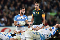 Martin Landajo of Argentina vents his frustrations at a scrum. Rugby World Cup Bronze Final between South Africa and Argentina on October 30, 2015 at The Stadium, Queen Elizabeth Olympic Park in London, England. Photo by: Patrick Khachfe / Onside Images